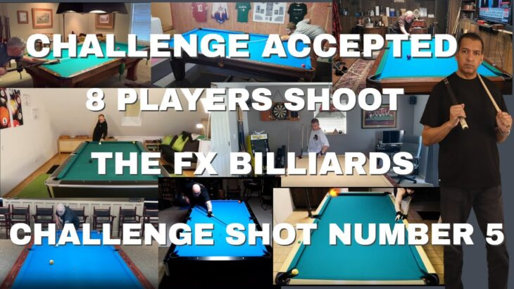 PLAYERS SHOOT THE FX BILLIARDS MOVING CUE BALL/ MOVING OBJECT BALL, CHALLENGE SHOT (POOL LESSONS)
